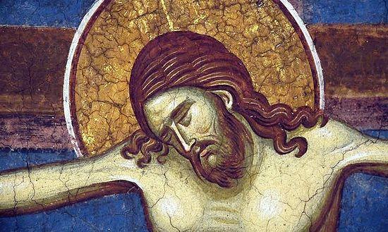 Смерть Христа. Фреска монастыря Высокие Дечаны, Сербия. XIV в.