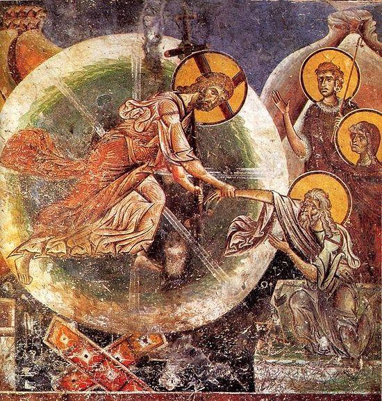 Сошествие во Ад. Фреска церкви святого Георгия в Курбиново. Сербия. 1191 год.