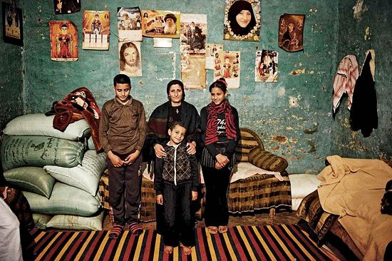 Wife, daughter and sons of 42-year-old slain laborer Tawadros Youssef, who was one of the Egyptian Coptics killed by ISIS. JONATHAN RASHAD