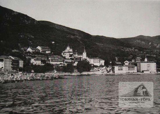 """41. """"Общий вид монастыря"""".(1941). Архивное фото германской научной экспедиции на Афон. Лето 1941 г. (9, c.81)."""