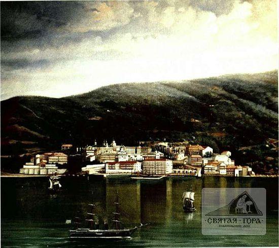 44. Вид монастыря с моря. Около 1886 г.