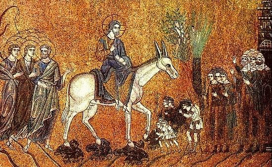 Mosaic – Jesus enters Jerusalem.