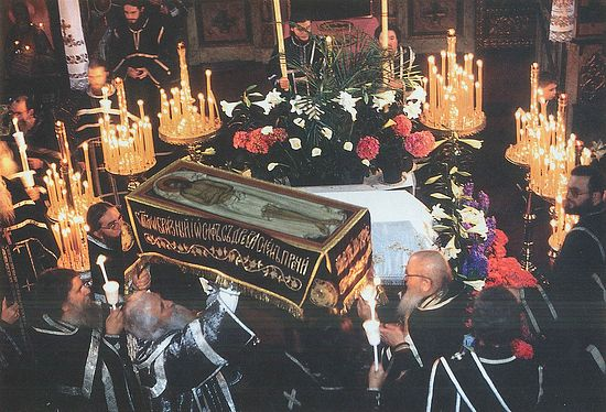 The beginning of the procession with the epitaphios at the end of Matins.