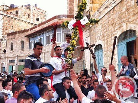 Palestinian Christians at the Holy Saturday Service in the Holy Sepulchre.