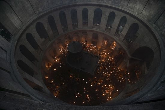 The Orthodox Holy Fire ceremony takes place every year at the Church of the Holy Sepulchre in Jerusalem's Old City on Holy Saturday.