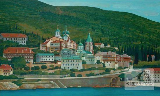 """53. """"St. Panteleimon Monastery, Mount Athos (80×120 cm; acrylic)"""". Набережная Россикона на картине неизвестного современного художника (cм.: sfantulmunteathos.wordpress.com)"""
