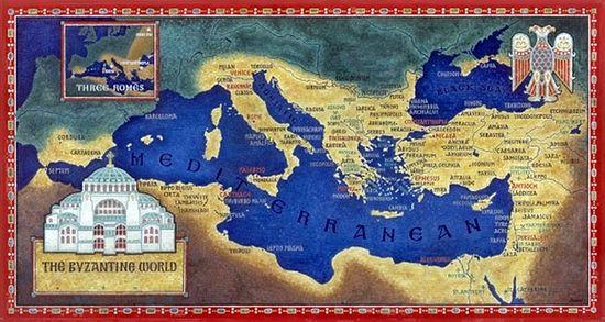 Карта Восточной Римской империи в годы правления Юстиниана Великрого