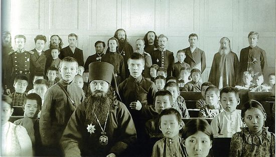 Archbishop Eusebius visits a Korean school in Vladivostok. Circa early 20 century.