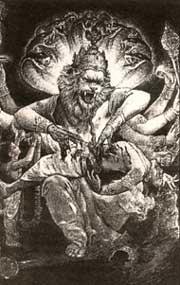Милосердие по-кришнаитски. Одно из воплощений Кришны. Рисунок из кришнаитского календаря (предоставлен Центром свщмч. Иринея Лионского)