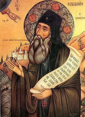 76. Cовременная греческая икона прп. Силуана Афонского. Cлева на иконе изображены монастырские постройки Россикона.