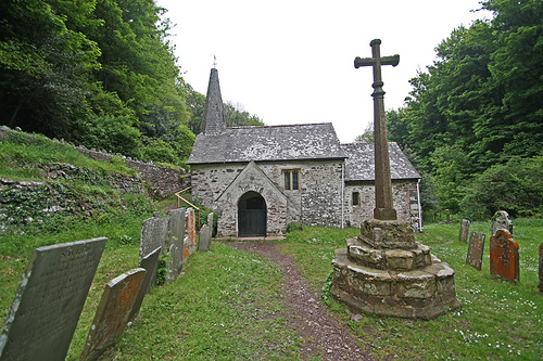 St. Beuno's Church in Culbone, Somerset (the smallest parish church in all England).