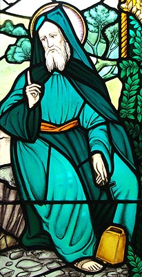 A stained glass image of St. Beuno.