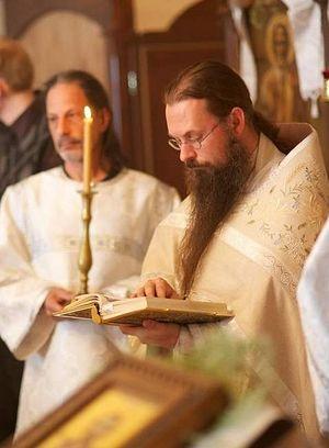 Father Andreas Blom of Ashland's Archangel Gabriel Orthodox Church leads a service.