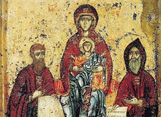 Богоматерь с преподобными Антонием и Феодосием Киево-Печерскими. Фрагмент Свенской Печерской иконы