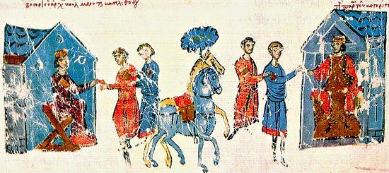 Царь Борис шлёт послов к императрице Феодоре. Миниатюра из Хроники Иоанна Скилицы, начало XIII века