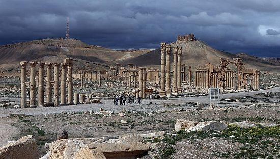 Вид на древнюю цитадель в Пальмире