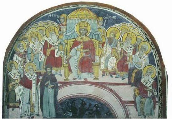 Первый Вселенский Собор. Фреска из афонского монастыря Григориат (1779 г.)