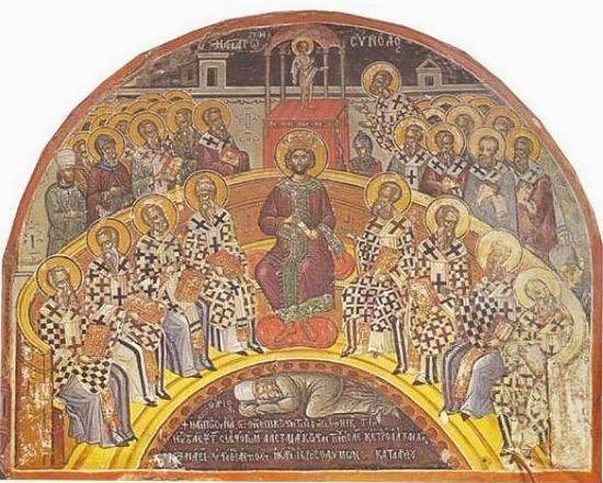 Первый Вселенский Собор. Фреска из монастыря Ставроникита(1546 г.)