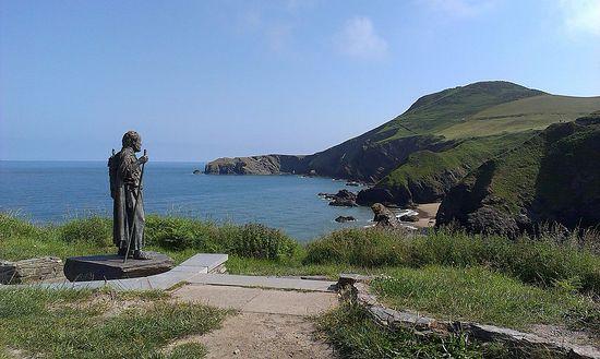 Statue of St. Carantoc in Llangrannog, Wales