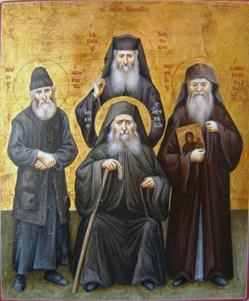 Elders Paisios of the Holy Mountain, Jacob Tsalikis (standing), Joseph the Hesychast and Porphyrios the Kapsokalyvite