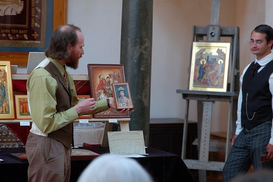 Describing a small icon painted by Alexander Chornii, inspired by the Fayum mummy portraits