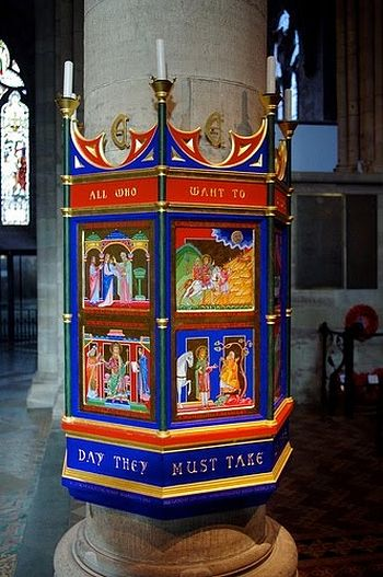 Memorial column in honor of St. Ethelbert illustrating his life and veneration inside Hereford Cathedral