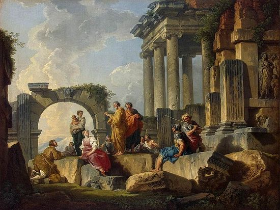 Apostle Paul Preaching on the Ruins. Giovanni Paolo Pannini, 1744