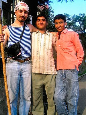 Andrey with his Indian friends.