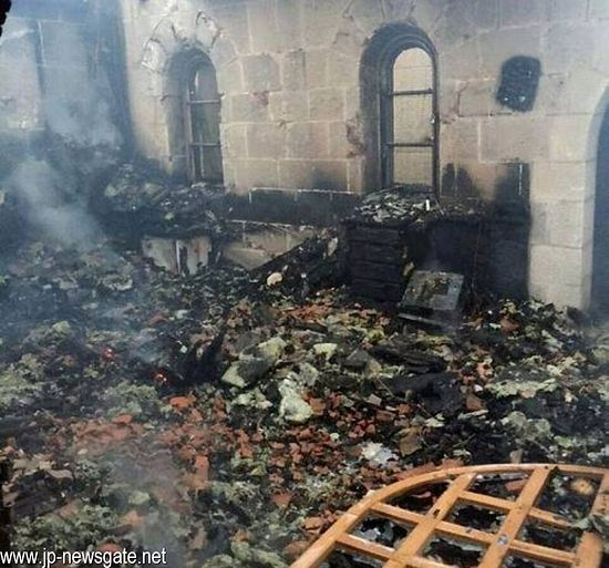 The aftermath of fire to the church in Tabgha