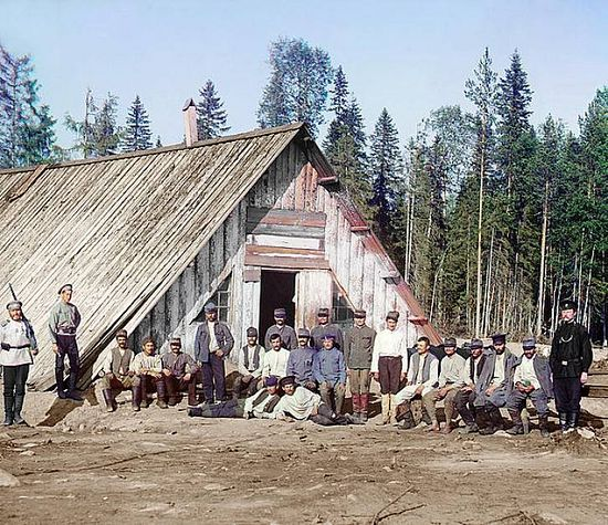 Austrian prisoners of war at a barracks near Kiappeselga - 1915