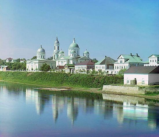 Cathedral of the Transfigured Savior and Church of the Entry to Jerusalem in Torzhok - 1910