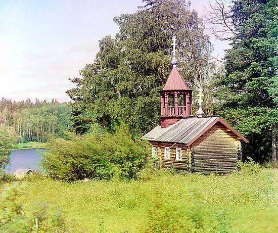 Chapel from the time of Peter the Great near the Kivach Waterfall near the river Suna - 1915