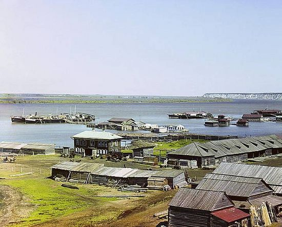 Joining of the Irtysh and Tobol rivers - 1912