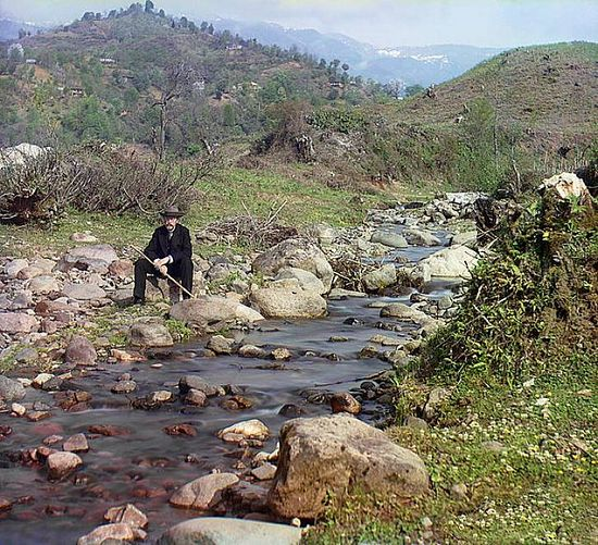 Sergei Gorsky at the Karolitskhali River - 1912