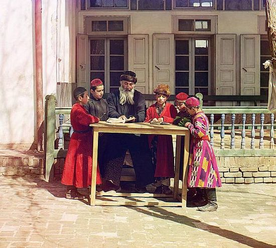 Jewish children with their teacher in Samarqand - between 1909-1915