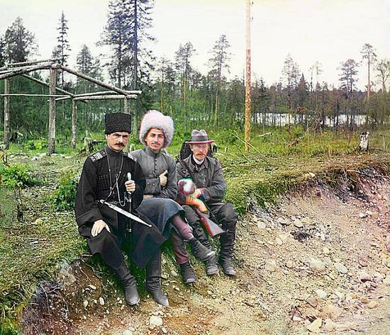 Sergei Gorsky with two Cossaks in Murman - 1915