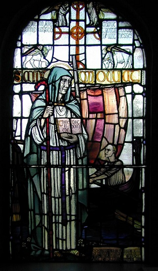 A window depicting St. Moluog inside his church in Lismore