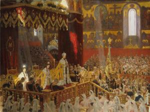 Laurits Tuxen's 1898 Coronation of Nicholas II and Alexandra Feodorovna.