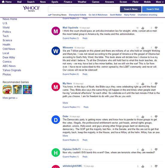 Скриншоты комментариев к новости на Yahoo.News о легализации содомии