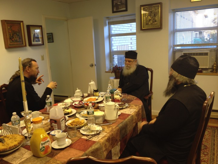 Fr. Luke, rector of HTS (center), discussing matters of ecclesiastical education with Fr. Pavel (left) and Fr. Roman (right) from Kazan Academy