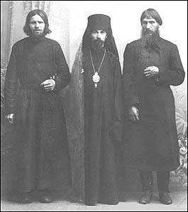 Photo taken in 1909 at Verkhotursky monastery of Elder Macarius, Bishop Theophan of Poltava and Grigori E. Rasputin