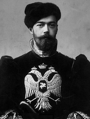 "Tsar Nicholas II, bearing the Imperial coat of arms of the double-headed eagle, representing the ""Byzantine Symphony"" of Church and State"