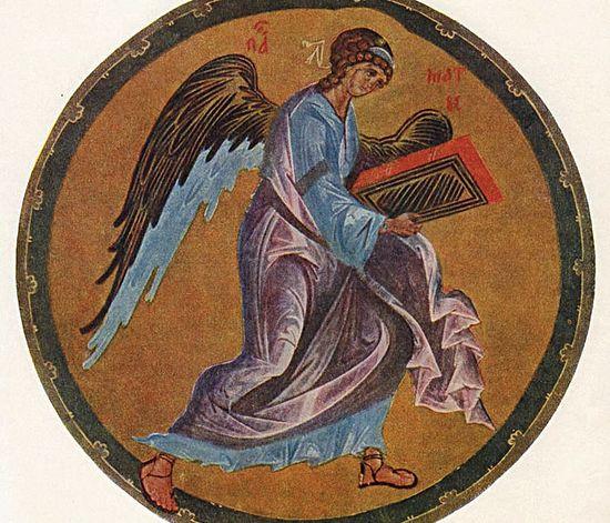 Ангел. Миниатюра Андрея Рублева. Евангелие Хитрово, XIV в.