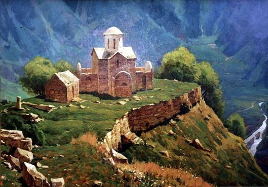The Senty Church in Karachay-Cherkessia, Russia – by Russian painter Alexander Babich