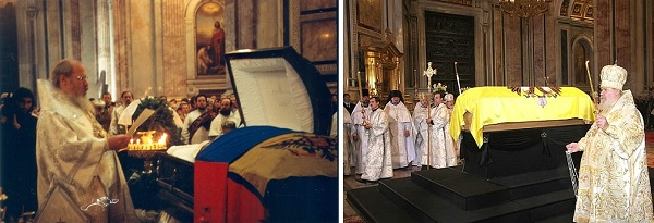 Patriarch of Moscow and All Russia Alexey II (1929-2008) performs the funeral service at St. Isaac's Cathedral for Grand Duke Vladimir Kirillovich on April 29, 1992 (left), and the Dowager Empress Maria Feodorovna on September 28, 2006 (right).