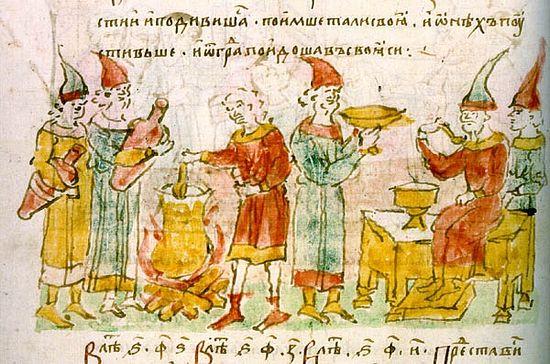 Варка «белгородского киселя». Миниатюра из Радзивилловской летописи
