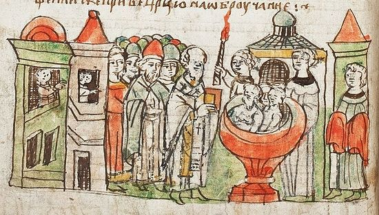 Крещение дружины князя Владимира. Миниатюра из Радзивиловской летописи