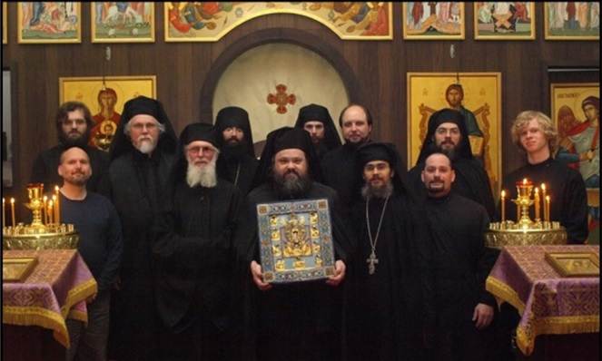 The Kursk Root Icon visits the brotherhood of the Holy Cross Monastery on 3/20/12. Rdr. Robert Sirico (1st row on end) was invited to join the brotherhood for this commemorative photograph.