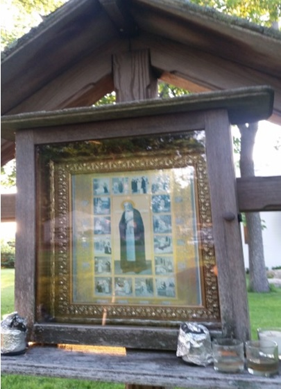 The enclosed icon of the life of St. Seraphim at Holy Cross Monastery