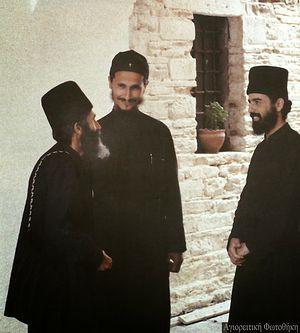 Преподобный Паисий Святогорец, епископ Афанасий (Евтич) и монах Исаак в монастыре Ставроникита (1970-е годы)